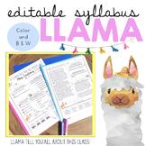Syllabus Template Editable: Llama theme