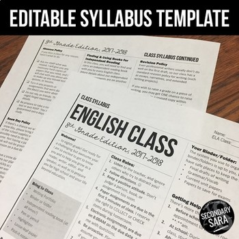 Syllabus Template: Editable Modern Newsletter Layout for Secondary Grades