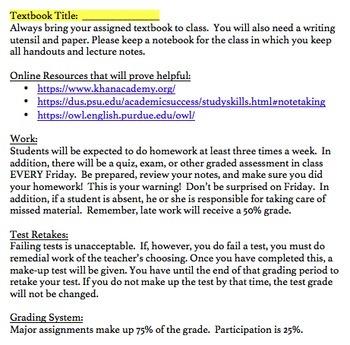 Syllabus Template (high school)