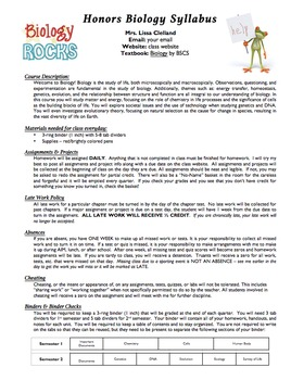 Syllabus (Template or Useable for Biology)