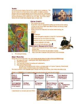 Syllabus World History - junior high middle school social science class calendar