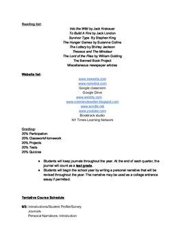 Syllabus for Alternative High School 9-12