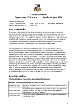 Syllabus for Chemistry first year of three