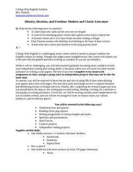 Syllabus for College Prep English course for seniors