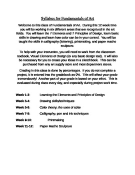 Syllabus for Fundamentals of Art