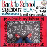 Syllabus for Middle School or High School ELA - Fully Editable - Back to School