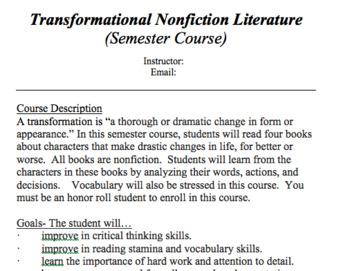 Syllabus for Transformational Nonfiction Lit Course