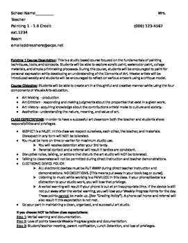 Syllabus for Visual Art Class (9-12)