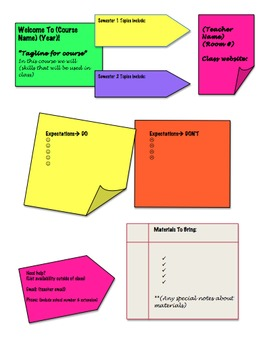 """Syllabus with """"Sticky Note"""" Format"""