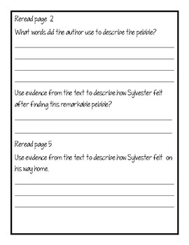 Sylvester and the Magic Pebble Reading Response Packet