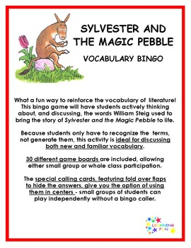 Sylvester and the Magic Pebble Vocabulary Bingo