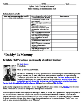 """Sylvia Plath - Informational Text Graphic Organizer for poem """"Daddy"""""""