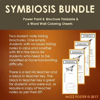 Symbiosis Bundle: Power point, Brochure Foldable and 6 Word Wall Coloring Sheets