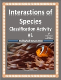 Symbiosis Classification Worksheet I (Interaction of Species)