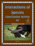 Symbiosis Classification Worksheet II (Interactions of Species)
