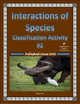 Symbiosis Classification Worksheet Ii Interactions Of Species