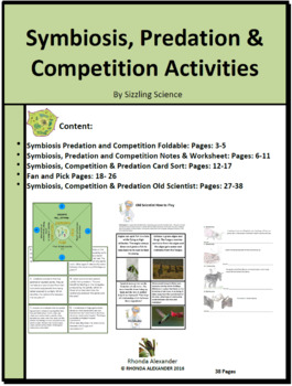 Symbiosis, Predation and Competition Activities