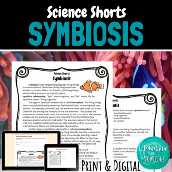 Symbiosis Reading Comprehension Passage