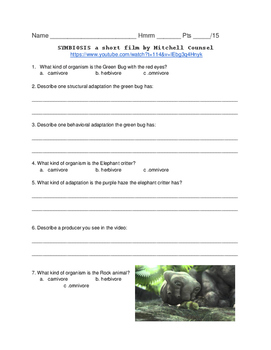 Symbiosis Visual Media Comprehension Sheet