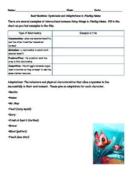 symbiosis and adaptations in finding nemo by mrs v science tpt. Black Bedroom Furniture Sets. Home Design Ideas