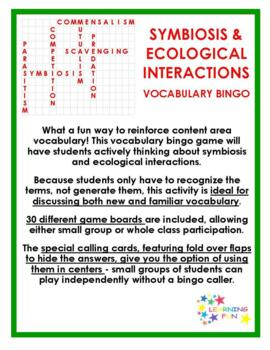 Symbiosis and Ecological Interactions Vocabulary Bingo