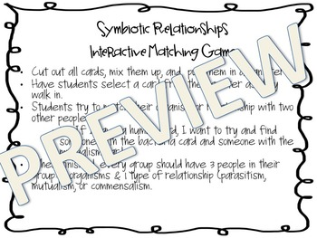 Symbiotic Relationships Matching Activity