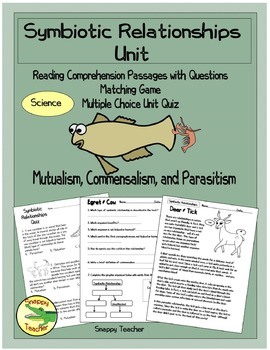 Symbiotic Relationships Science Unit - Mutualism, Commensalism & Parasitism
