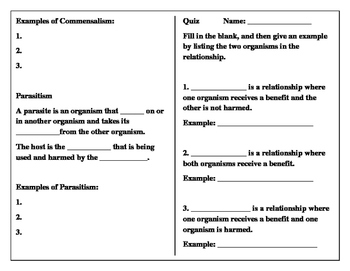 Symbiotic Relationships student worksheet to match power point