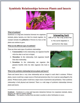 Symbiotic relationships between plants and insects - Science Reading Article