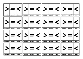 Symbol Card for Greater, Equal, Less