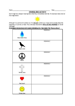 Symbol Dice Lesson/Activity