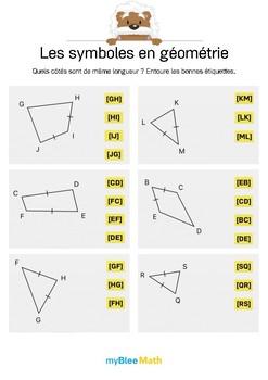 Symboles en géométrie 1 -Quels sont les côtés égaux ?