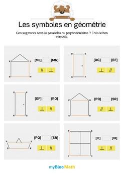 Symboles en géométrie 2 -Parallèles ou perpendiculaires ? Ecris le bon symbole