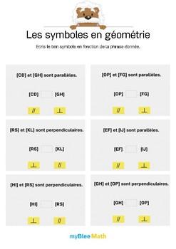Symboles en géométrie 3 -Parallèles ou perpendiculaires ? Ecris le bon signe