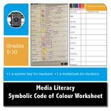 MEDIA LITERACY - Symbolic Code of Colour Worksheet
