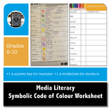 MEDIA LITERACY - Symbolic Code of Colour Worksheet