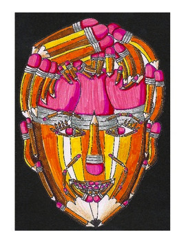 Symbolic Color Pencil Faces