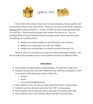 Symbolic Gifts - Holiday Pro-Social Lesson (Social Emotional Learning)