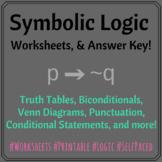 Symbolic Logic 4 Worksheets (& Answer Key)
