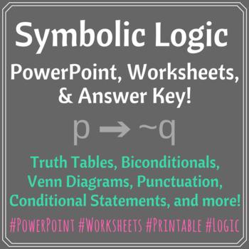 Symbolic Logic PowerPoint, 4 Worksheets, and Answer Keys