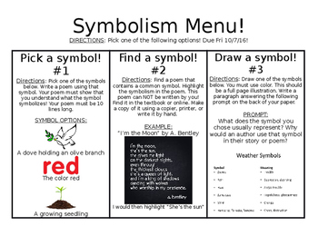 Symbolism Menu Project (3 choices, rubrics included)