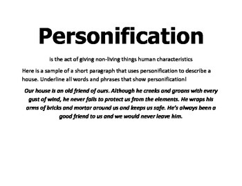 Symbolism & Personification Packet  & Lesson Plan
