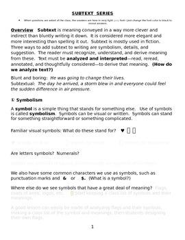 Symbolism and Subtext Series ; Interpretation, Suggestion, Subconscious, Details