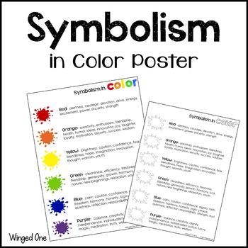 Symbolism In Color Poster By Winged One Teachers Pay Teachers