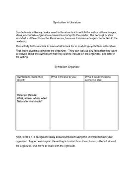 Symbolism in Literature - Organizer and Writing Prompt