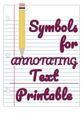 Symbols for Annotating Text- Printable
