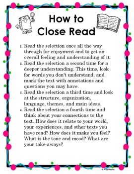FREE Annotating Text Handout for Close Reading