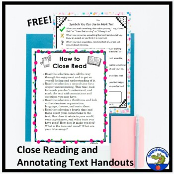 FREE Symbols for Reading Handout - How to Annotate Text