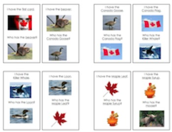 """Symbols of Canada """"I Have, Who Has?"""" Game"""