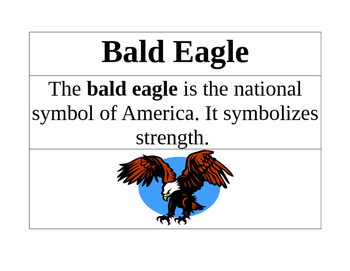 Symbols of USA Vocabulary Cards